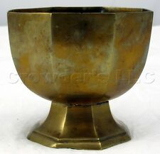 "Vintage Decorative Tarnished Brass Tea Light Candle Holder Goblet Cup 4.5"" Tall"