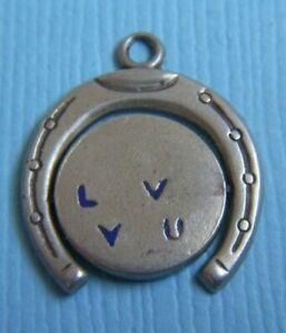 Vintage enamel movable I Love You spinner sterling charm