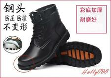 Mens square toe Waterproof lace up winter Warm fur lined Combat Boots work Shoes