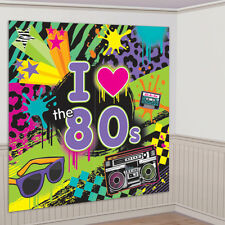 5FT 80S THEME SCENE SETTER PHOTO PROP WALL DECORATION BIRTHDAY PARTY BANNER 80's