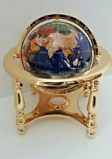 "Mother of Pearl & Gemstone Inlay Globe 9"" 4 Leg Base World Map"