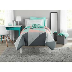 Bedding Set Bed in a Bag Mainstays Grey & Teal 6 pc Twin/Twin XL
