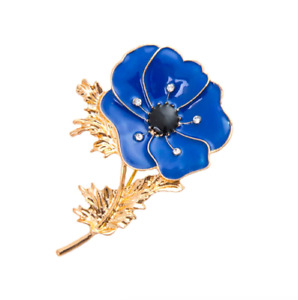 Dark Blue Flower Brooch with Rhinestones