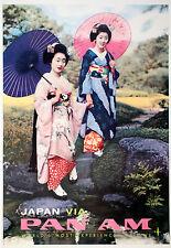Original Vintage Travel Poster Pan Am Japan c1965 Geisha Pan American Airlines