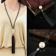 Leather Bead Tassel Pendant Long Women Sweater Chain Lady Necklace Jewelry Gifts