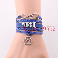 Infinity Love YORKIE bracelet charm leather bracelets&bangles women jewelry blue