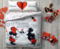 Disney Mickey Minnie Perfect Love 100% Cotton Bedding Double Duvet Cover Set 4Pc