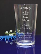 Personalised Your Name Engraved Pint Glass/ Gin and Tonic / Birthday 295