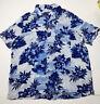 Men's George Blue/White Floral Short Sleeve Camp Hawaiian Shirt Rayon XL