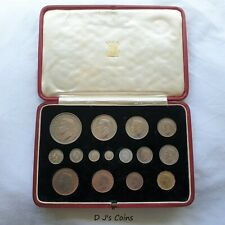 More details for 1937 15 coin cased specimen proof set, crown to farthing including maundy
