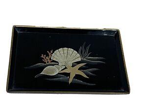 Vintage Otagiri Seashell Rectangular Lacquered Tray