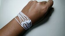Lot 10 of Thai Blessed Buddhist Wristband Fair Trade Wristwear White Cotton