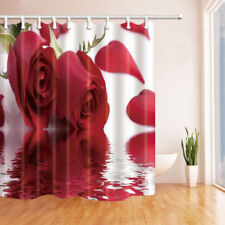 Red Rose and Petals Bathroom Shower Curtain Waterproof Fabric w/12 Hooks 71*71in