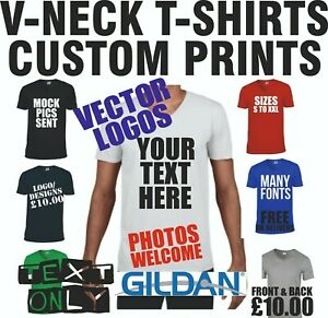 Custom T shirt Personalised V neck Top Text Photo Logo Printing Fun Stag Hen Tee