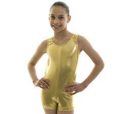 Girls Ladies Sleeveless Dance Gymnastics Leotard Short Unitard Shiny Lycra NEW