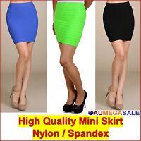Mini Skirt Short Pencil Tight Stretchable Vertically Pintuck High Waist Spandex