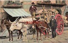 1910 NAPOLI CARRO DA TRASPORTO Italy 2 men transporting - mailed to Mrs. Corruth