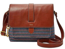 Fossil Kinley Small Leather & Fabric Crossbody Teal Brown Gold