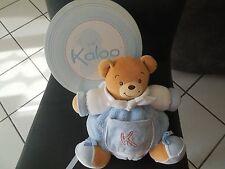 doudou peluche boule ours blanc bleu K rouge KALOO 25cm