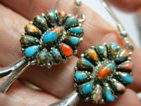 STERLING SILVER NEW SPINY OYSTER TURQUOISE FLOWER DANGLE 1.75 INCH EARRINGS NWOT