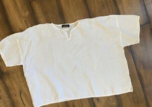 ESKANDAR Neumann Marcus One size White Linen Boxy V-Neck Top OS