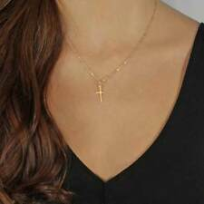 Gold Chain Cross Necklace Small Gold Cross Religious Jewelry