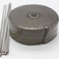 15.3m 2'' Titanium Exhaust Header Pipe Titan Heat Wrap With 6 Stainless Ties Kit