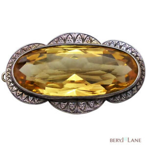 Vintage c1920 Sterling Silver Large 70ct Golden Yellow CITRINE BROOCH or PENDANT