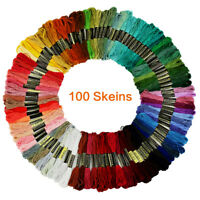 100pcs Rainbow Color Embroidery Floss Cross Stitch Threads Crafts Floss YLM
