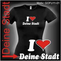 Damen T-Shirt Girlie Shirt mit Wunschtext Stadt oder Namen Wunschdruck GOFU11-01