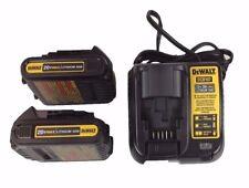 2 New Dewalt DCB201 20 Volt Max 1.5 Ah Lithium Ion Batteries & DCB107 Charger