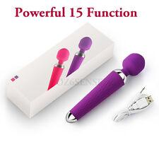 Powerful 15 Function Waterproof USB Rechargeable Magic Wand Vibrator Massager !