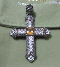 NWOT Judith Ripka Blackened .80cttw Citrine and Diamonique Cross Pendant