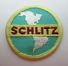 Vintage Schlitz Beer Patch Small 2 inch Round Globe Teal Red White and Gold NOS