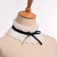 Vintage Lace Ruff Neck Collar Lolita Ribbon Bowknot Charm Choker Cosplay Wear