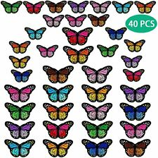 40pcs Butterfly Iron on Patches 2 Size Embroidered Sew Applique Repair Patch Set