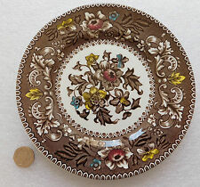 Westminster tea plates Wood & Sons Brown floral Vintage 1960s 7 inch side plates