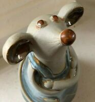 Scandinavian Mouse Statue Clay Stoneware Pottery w/Arms Crossed Farm house Vtg