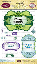 JUSTRITE CLEAR Rubber Stamps SNOWFLAKE VINTAGE LABELS SEVEN CR-02047 Noel Wishes