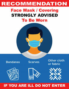 Sign Adhesive Sticker Vinyl Face Mask Covering Notice Advice Recommend 125x160mm