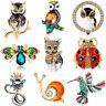 Fashion Women Lady Animal Bird Owl Dog Cat Snail Brooch Pin Wedding Jewelry Gift