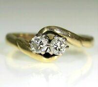 Pretty 0.33ct Diamond Duo Toi et Moi 9ct Yellow Gold Ring size J ~ 4 3/4