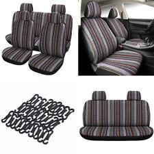 1 Satz 5-Sitzer Auto Sitzbezug Kissen Schutz Bunte Leinen Streifen Alle Saison