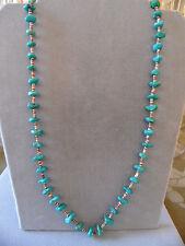 "Vintage Pawn  Chunk Turquoise and Heshi Bead Necklace  26"""