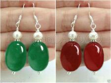 red Jade Sterling Silver Dangle Earrings 2 pair Women's Natural Green &