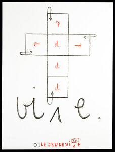 "Fluxus ""O! LE JEU DE VI[D]E"", 1984. Robert FILLIOU (1926-1987 FRA), handsigniert"