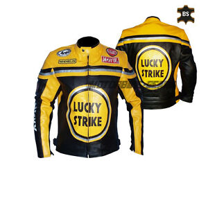 Yellow Lucky strike motorbike leather jacket racing bike jacket with ce armour