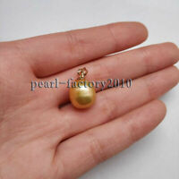 AAA 12-13.5 mm golden natural south sea pearl pendant 14K Yellow Gold