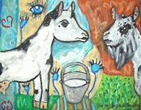 NIGERIAN DWARF Doe Buck in Love Dairy Goat Folk Art Print 8x10 Farm Collectible