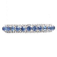 Luce Zaffiro e Diamante Strass Luccicante Braccialetto prom gioielli da sposa 0077